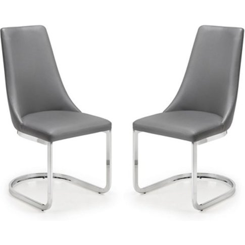 Como Grey Faux Leather Cantilever Dining Chair In Pair