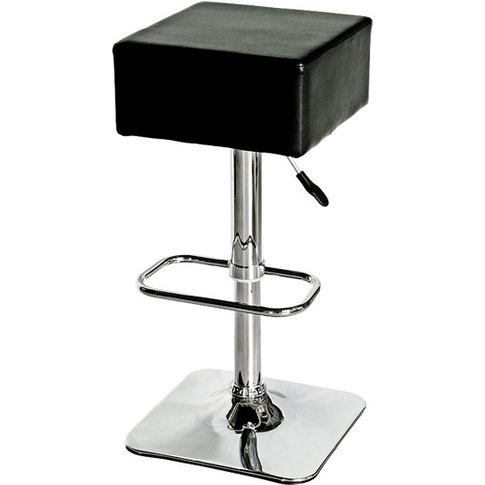 Compton Bar Stool In Black Faux Leather With Chrome ...