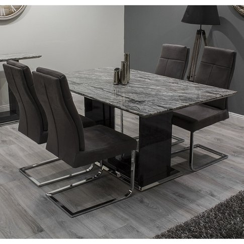 Connor Marble Dining Table In Grey And High Gloss Wi...