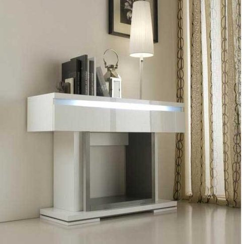 Renoir Console Table In Grey And Taupe With 1 Drawer And Lights
