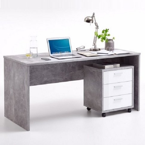 Cooper Computer Desk And Cabinet In Light Atelier Wh...