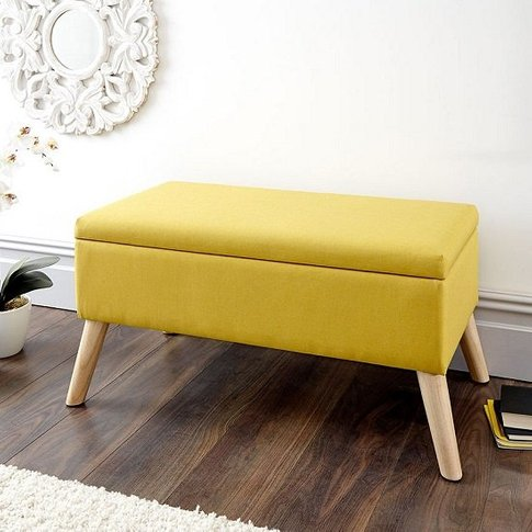 Copeland Large Fabric Storage Ottoman Unit In Yellow