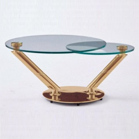 Corazon Rotating Glass Coffee Table In Clear And Ros...