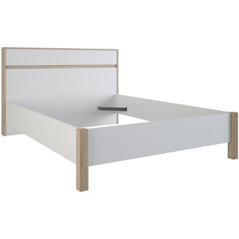 Corban Wooden Double Bed In Brushed Oak And White Pearl