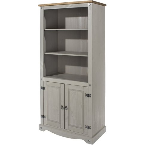 Corina Bookcase In Grey Washed Wax Finish With Two D...