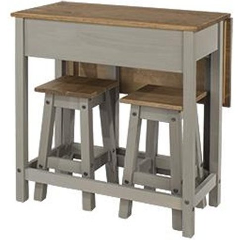 Corina Drop Leaf Dining Set In Grey With 2 Stools