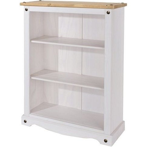 Corina Low Bookcase In White Washed Wax Finish