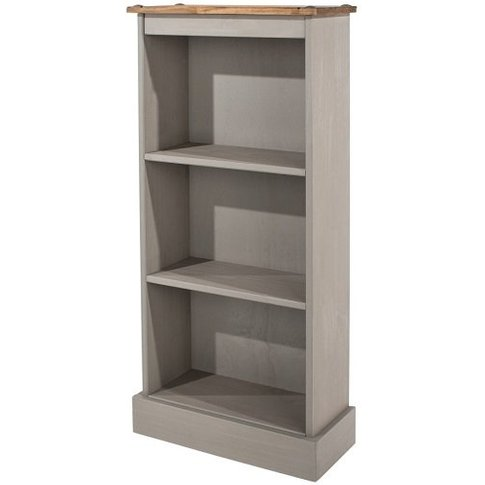 Corina Low Narrow Bookcase In Grey Washed Wax Finish