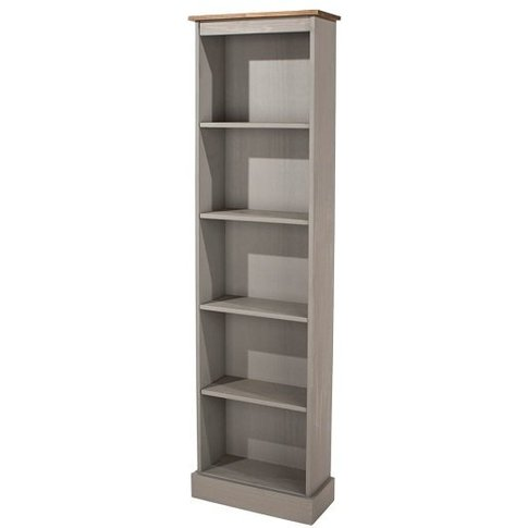 Corina Tall Narrow Bookcase In Grey Washed Wax Finish