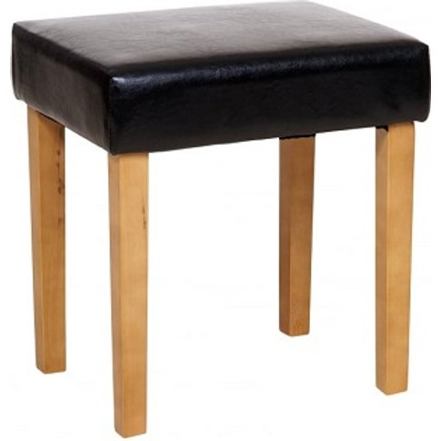 Corina Upholstered Faux Leather Stool In Black Finish
