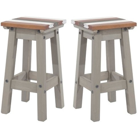 Corina Vintage Wooden Kitchen Stools In Grey Wax In ...