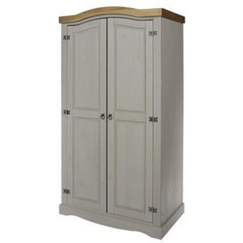 Corina Wardrobe In Grey Washed Wax Finish With Two D...