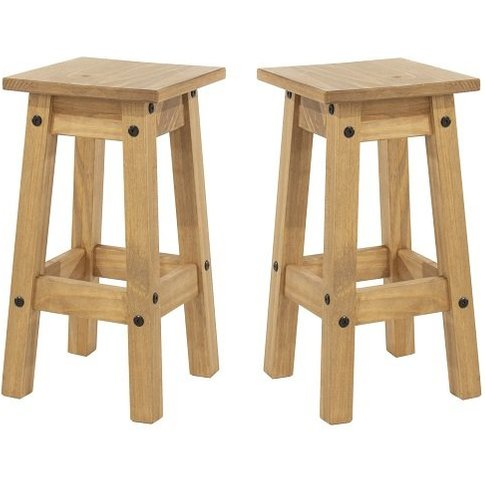 Corina Wooden Kitchen Stools In Antique Wax In A Pair