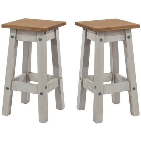 Corina Wooden Kitchen Stools In Grey Washed Wax In A...