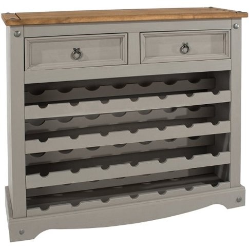 Corina Wooden Wine Rack In Grey Washed Wax With Two ...