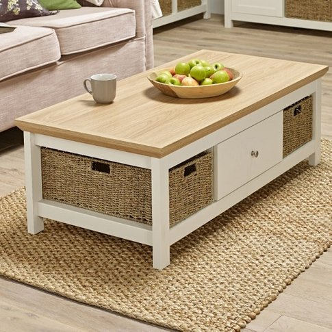 Cornet Wooden Coffee Table In Cream And Oak Finish