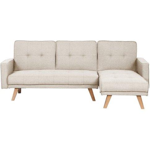 Cornis Corner Sofa Bed In Beige Fabric With Wooden Legs