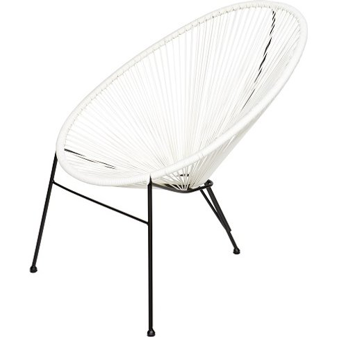 Cornis Modern Lounge Chair In White With Metal Frame