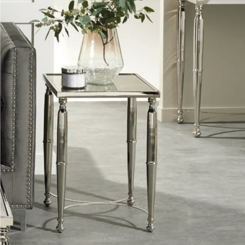Corum Mirrored Side Table Square In Two Tone And Nic...