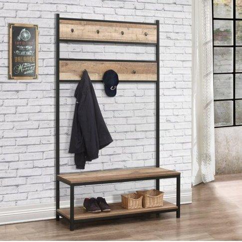 Coruna Wooden Coat Rack And Bench In Rustic And Meta...