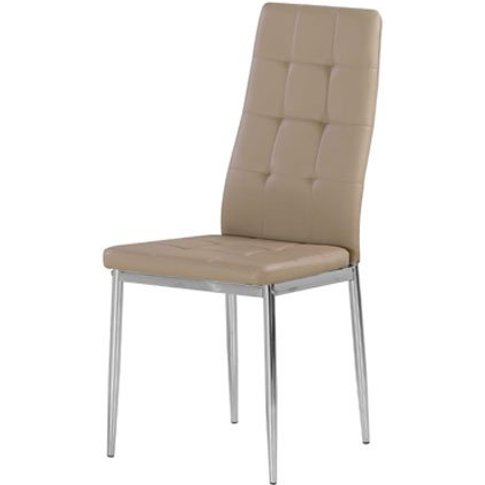 Cosmo Dining Chair In Taupe Faux Leather With Chrome...