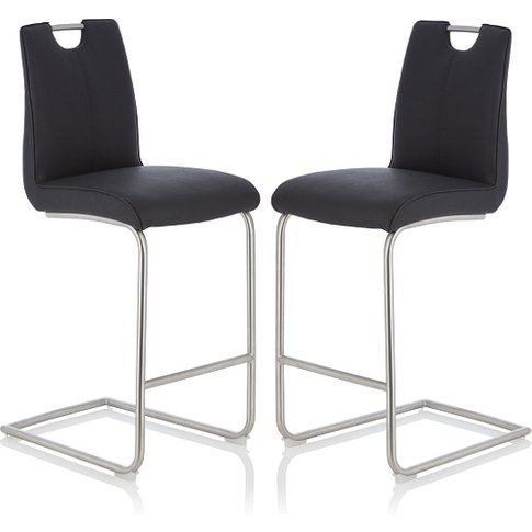 Cosmos Bar Stool In Black Faux Leather In A Pair