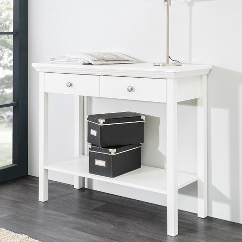 Country Console Table In White With 2 Drawers