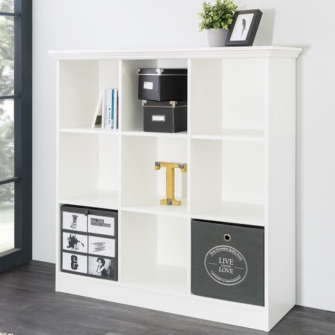 Country Wide Bookcase Small In White With 9 Compartm...