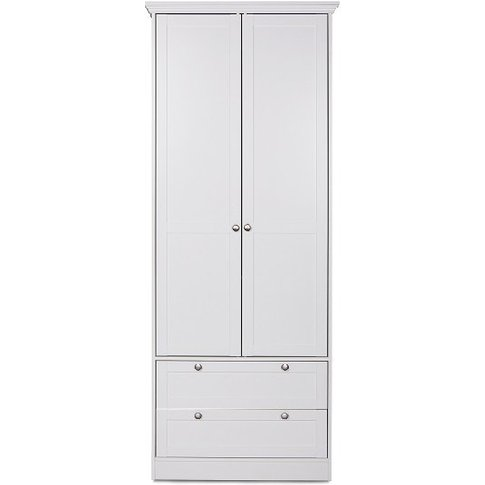 Country Wooden Wardrobe In White With 2 Doors And 2 ...