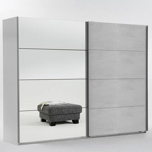 Crato Mirrored Sliding Wardrobe In White And Concret...