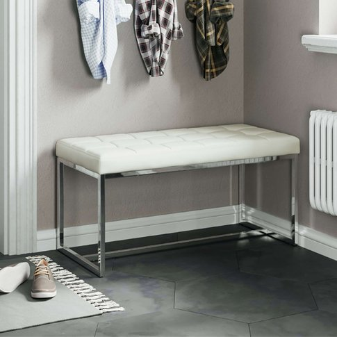 Croatia Dining Bench In White Pu Leather With Chrome...