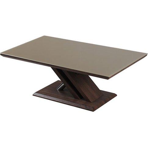 Cuba Khaki Glass Top Coffee Table With Chrome And Da...