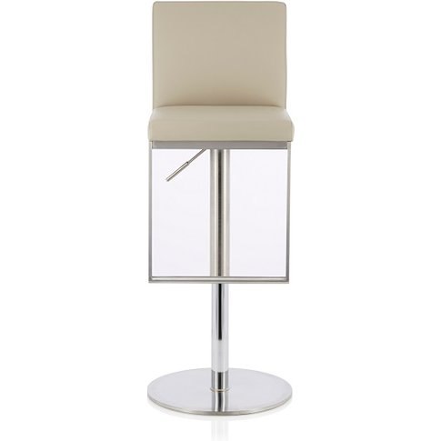 Cuban Bar Stool In Beige Faux Leather And Stainless ...