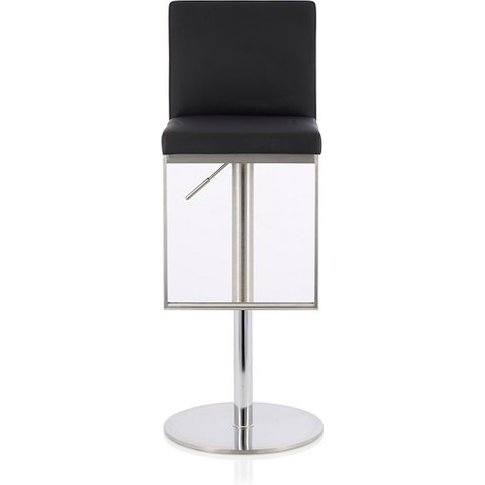 Cuban Bar Stool In Black Faux Leather And Stainless ...