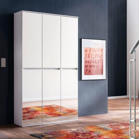 Cubix Mirrored Hallway Wardrobe In White With 6 Doors