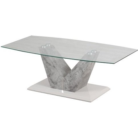 Cuneo Glass Coffee Table With Grey Stone Look And St...