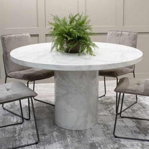 Cupric Marble Dining Table Round In Bone White Gloss...