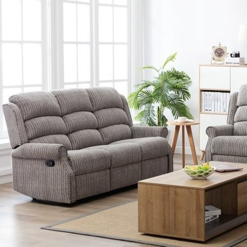 Curtis Fabric Recliner 3 Seater Sofa In Latte