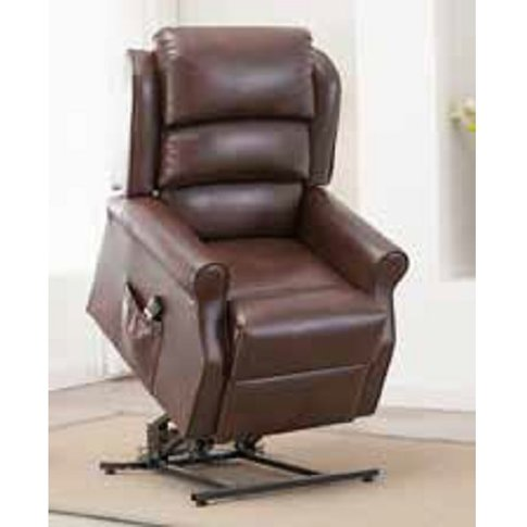 Curtis Rise And Recliner Sofa Chair In Brown Faux Le...