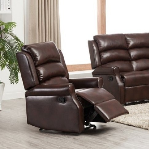 Curtis Recliner Sofa Chair In Brown Faux Leather