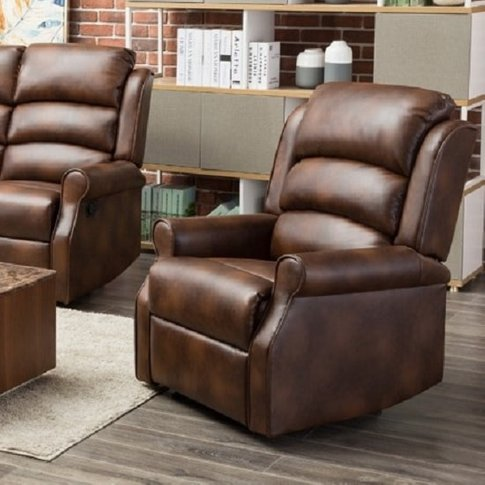 Curtis Recliner Sofa Chair In Tan Faux Leather