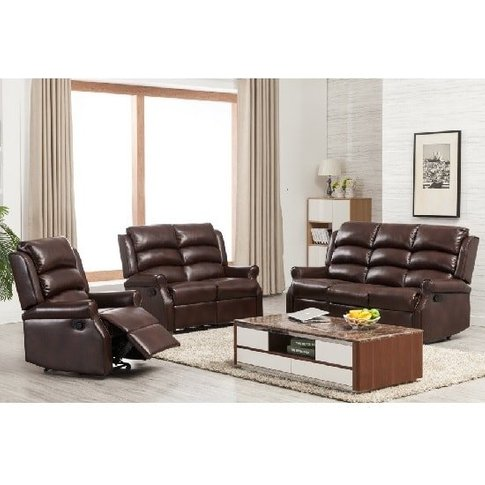 Curtis Recliner Sofa Suite In Two Tone Brown Faux Le...