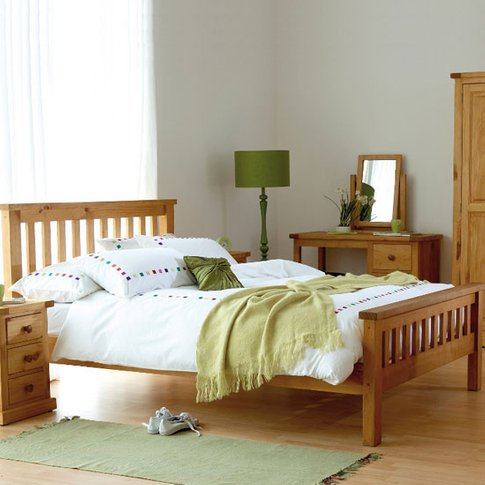 Cyprian Wooden Double Bed In Chunky Pine