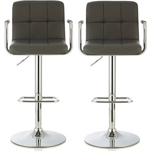 Cyril Contemporary Bar Stool In Grey Faux Leather In...