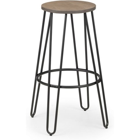 Dalston Wooden Round Bar Stool In Mocha Elm