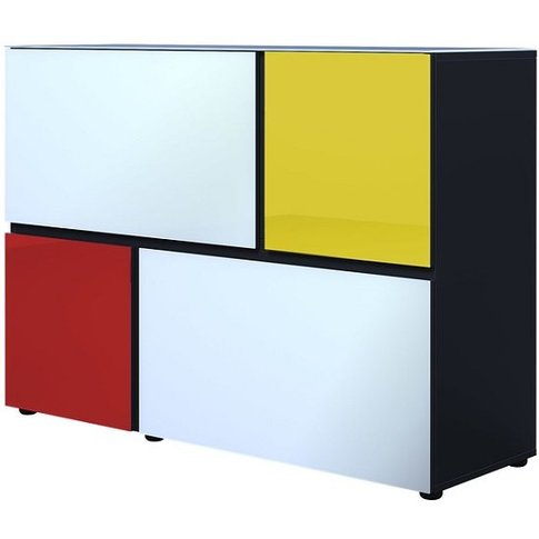 Danish Glass Chest Of Drawers In Multicolour With 4 ...
