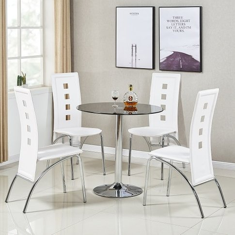 Dante Glass Dining Table In Black With 4 Bellini Whi...
