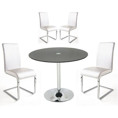 Dante Glass Dining Table In Black With 4 Lotte White...