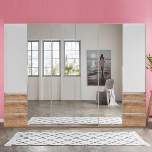 Danzig Mirror Wardrobe Large In White Planked Oak Ef...