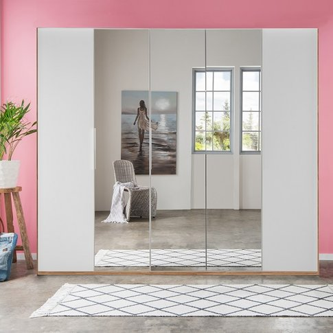 Danzig Mirrored Wardrobe In White And Planked Oak Ef...